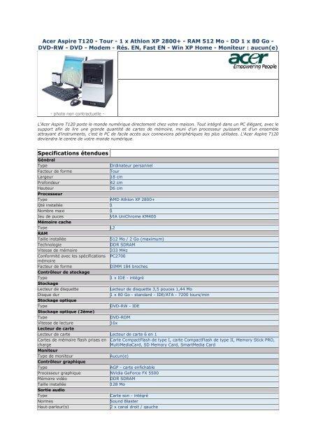 DRIVER: ACER ASPIRE T120C
