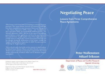 Negotiating Peace Lessons from Three ... - UN Peacemaker