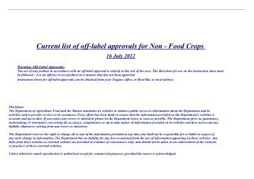 Current list of off-label approvals for Non - Food Crops