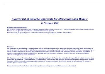 Current list of off-label approvals for Miscanthus and Willow 26 ...