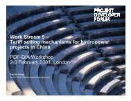 Work Stream 5 – Tariff setting mechanisms for hydropower g y p ...
