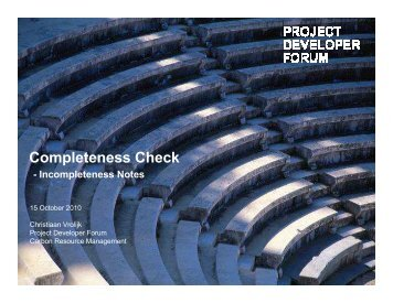 Completeness Check Incompleteness Notes - Project Developer Forum