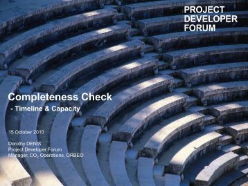Completeness Check - Timeline & Capacity - Project Developer Forum