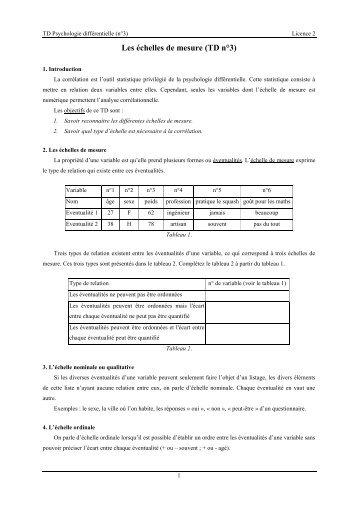 Les échelles de mesure (TD n°3) - PDF Archive