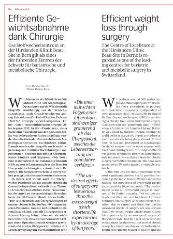 Effiziente Gewichtsabnahme dank Chirurgie - Efficient weight loss through surgery