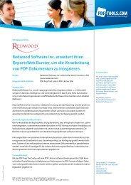 Erfolgsgeschichte Redwood Software Inc. - PDF Tools AG
