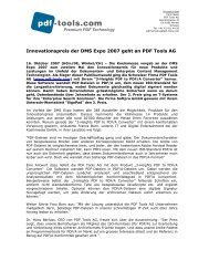 Pressemitteilung - Innovationspreis DMS Expo 2007 - PDF Tools AG