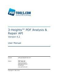 3-Heights™ PDF Analysis & Repair API, User Manual - PDF Tools AG