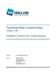 Technical Note: License Keys - PDF Tools AG