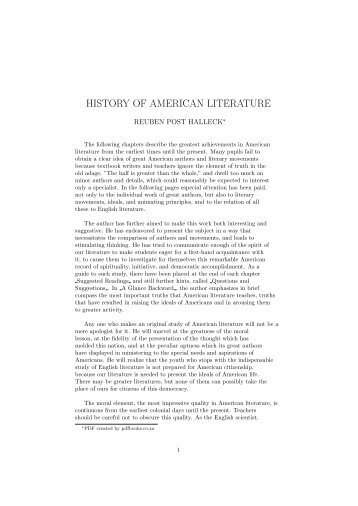 HISTORY OF AMERICAN LITERATURE - PDFbooks.co.za