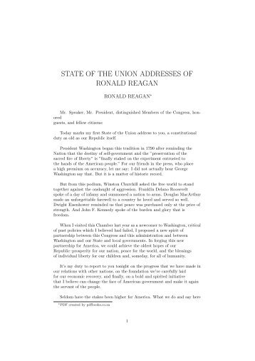 state of the union addresses of ronald reagan - PDFbooks.co.za