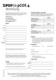 PDFlib pCOS Bestellformular und Hinweise zu Lizenzoptionen