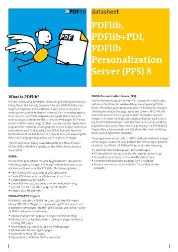 PDFlib, PDFlib+PDI, Personalization Server data sheet