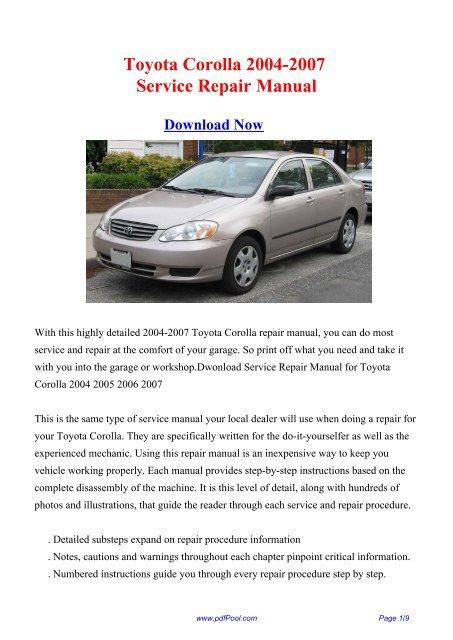 Toyota Corolla 2004-2007 Repair Manual - PDF Pool