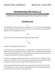 Deutsches Patent- und Markenamt München, den