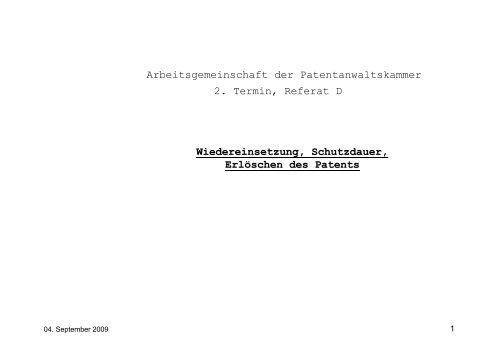 Wiedereinsetzung, Schutzdauer, Erlöschen des Patents