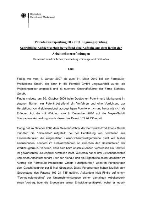 Patentanwaltsprüfung III / 2011, Eignungsprüfung Schriftliche ...