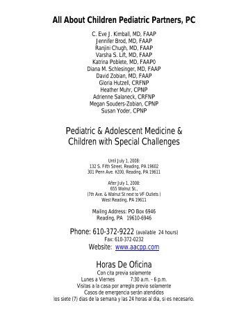 bienvenida - All About Children Pediatric Partners, PC