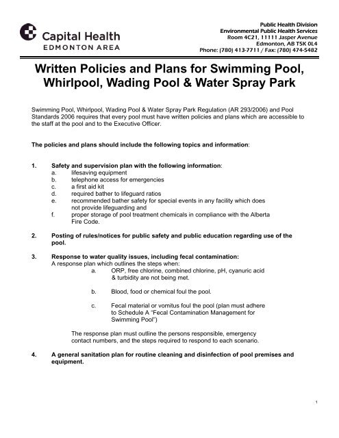 Pool - Written Policies and Plans for Swimming Pool