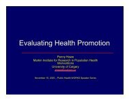 Evaluating Health Promotion - Capital Health