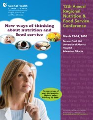 Regional Nutrition & Food Service Conference - Capital Health