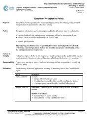 Specimen Acceptance Policy - Capital Health