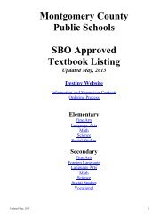 Approved Textbook List - Montgomery County Public Schools