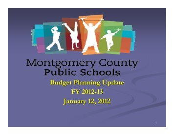 Presentation to the School Board - Montgomery County Public Schools