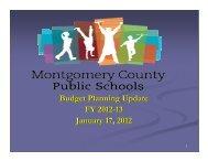 Presentation to the School Board - Montgomery County Public Schools