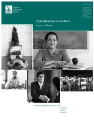 VRS Handbook for Members - Virginia Retirement System