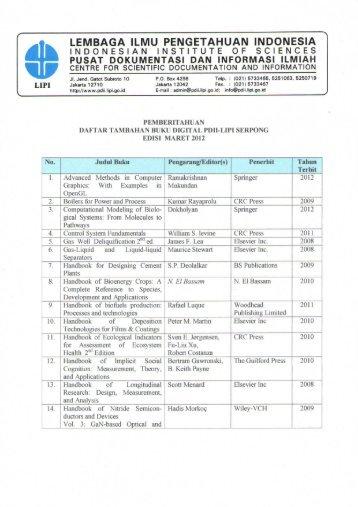 Daftar Tambahan Buku Digital edisi Maret 2012 - PDII – LIPI