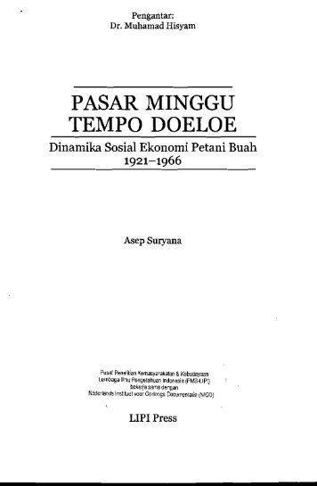 PASAR MINGGU TEMPO DOELOE - PDII – LIPI