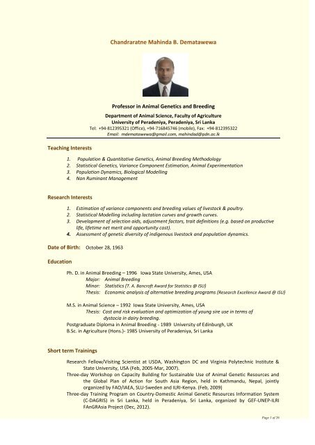 Full CV - University of Peradeniya