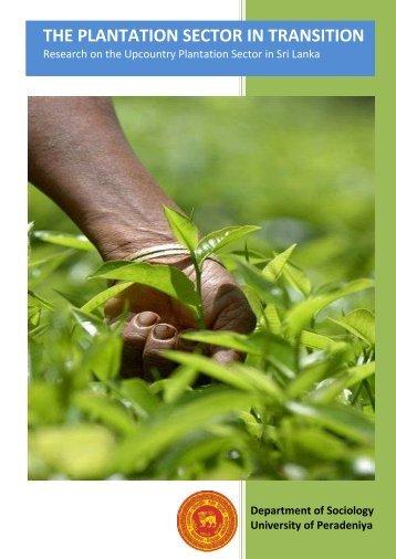 The Plantation Sector in Transition - University of Peradeniya