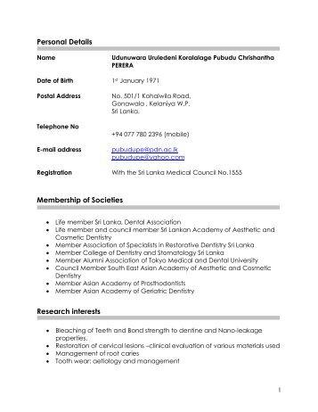 More Details from CV - University of Peradeniya