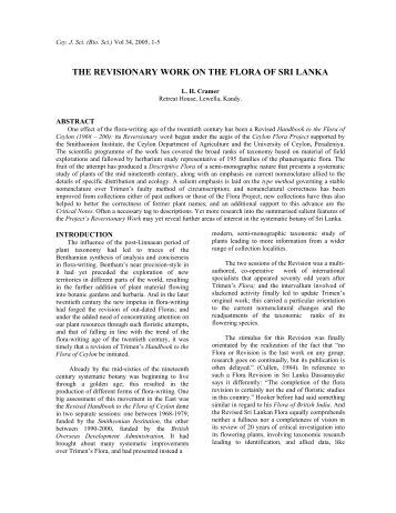 The Revisionary Work on the Flora of Sri Lanka - University of ...