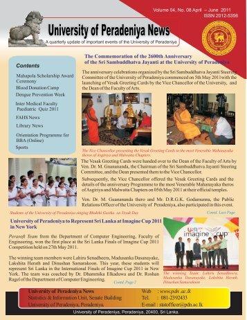 April - June 2011 - University of Peradeniya