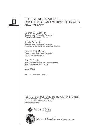 housing needs study for the portland - Portland State University
