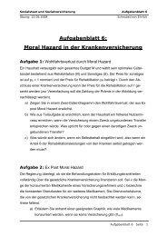 Aufgabenblatt 6: Moral Hazard in der Krankenversicherung
