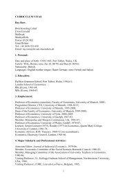 CURRICULUM VITAE - Lehrstuhl für Nationalökonomie und ...