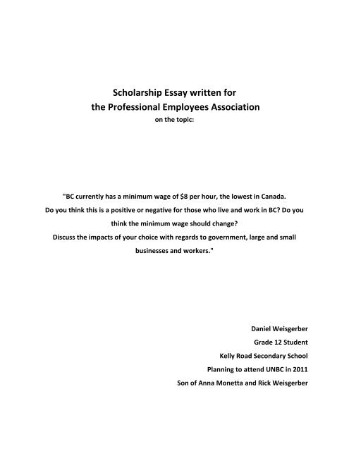 Scholarship Essay written for the Professional Employees     - PEA