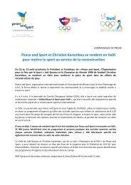 Peace and Sport et Christian Karembeu se rendent en Haïti pour ...
