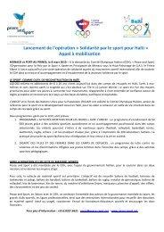 Solidarité par le sport pour Haïti - Peace and Sport