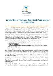 Voir le communiqué de presse - Peace and Sport