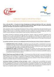 Le Badminton s'engage aux côtés de Peace and Sport pour ...