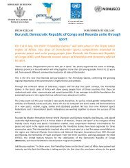 See the press release - Peace and Sport
