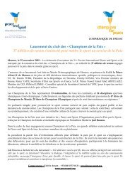 Lancement du club des Â« Champions de la Paix ... - Peace and Sport