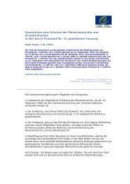 Konvention zum Schutze der Menschenrechte und Grundfreiheiten ...