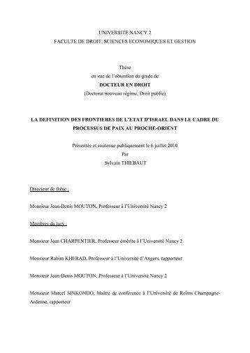 UNIVERSITE NANCY 2 FACULTE DE DROIT, SCIENCES ...