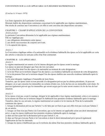 CONVENTION SUR LA LOI APPLICABLE AUX RÉGIMES ...
